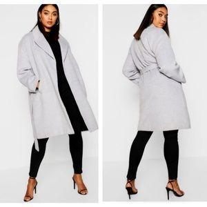 Boohoo Plus Laiken Belted Wool Look Coat NWT Gray